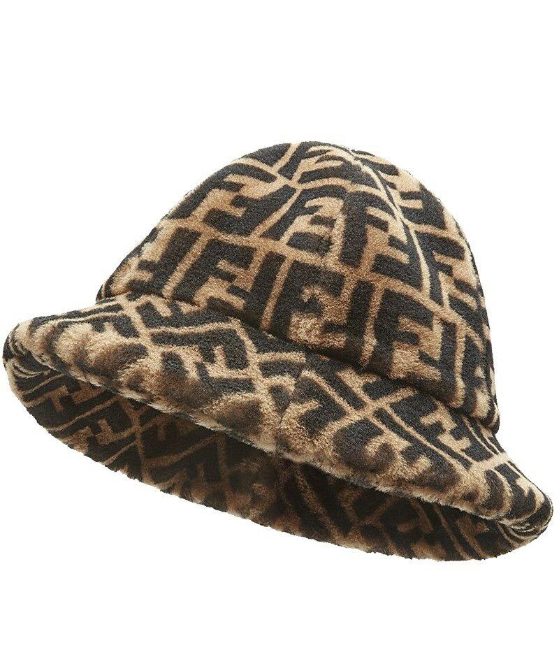 Коричневая короткая шапка Fendi