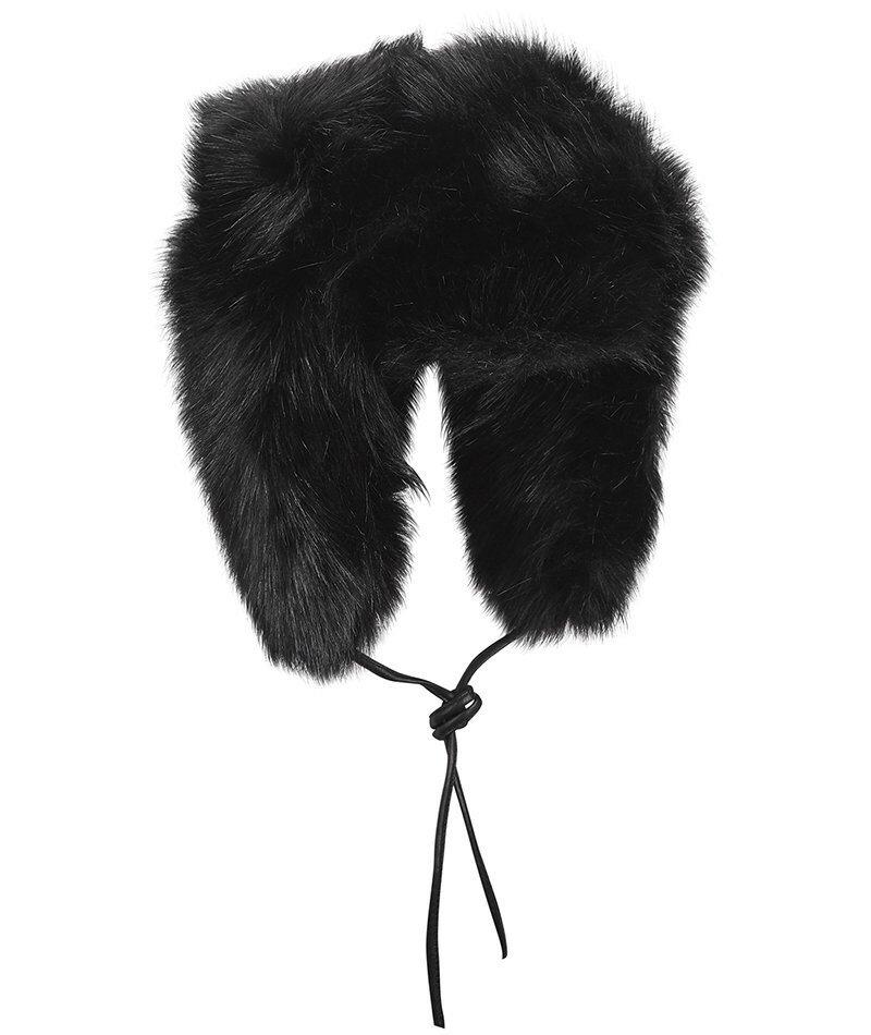 Черная шапка из искусственного меха Eugenia Kim Owen. Эта шляпа-ушанка из искусственного меха - воплощение уюта для снежной погоды.