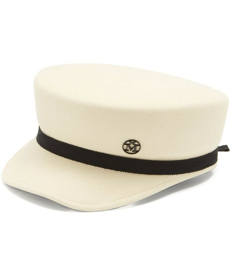 Войлочная кепка Baker Boy с лентой Maison Michel Abby Grosgrain. Нет лучшей кепки для минимализма, чем структурированный силуэт Maison Michel цвета слоновой кости.